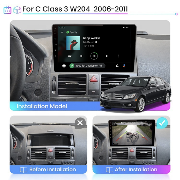 Mercedes Benz W204 C-Class 2006 - 2011 9 Inch Android Navigation Touch Screen