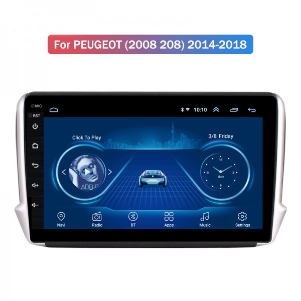 Peugeot 208/2008 2014 - 2018 10.1 Inch Android Sat...