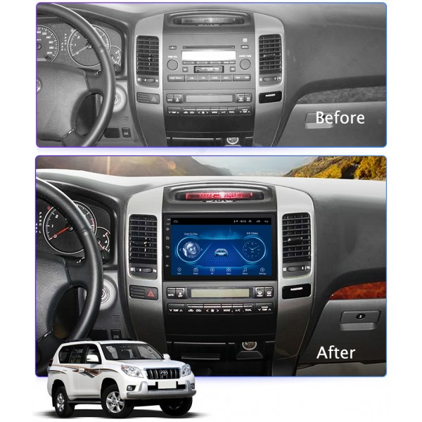Toyota Prado 120 2004 - 2009 9 Inch Android Satnav Radio Car Audio Sound System